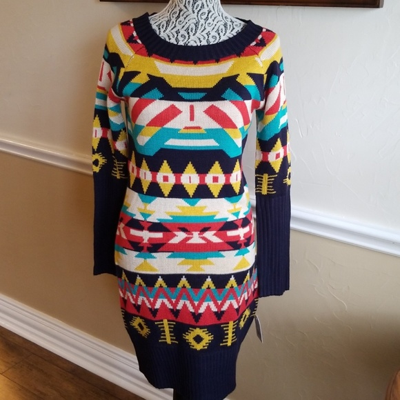 ac3f4fb946 New Jessica Simpson Aztec Sweater Dress